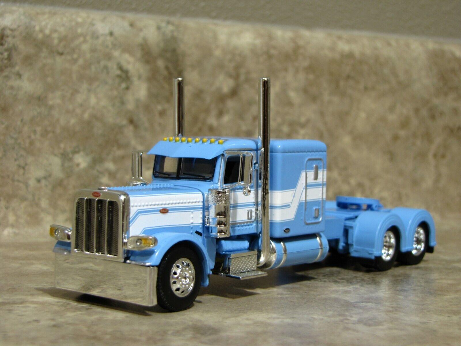 DCP 1/64 Baby Blue White Flattop Peterbilt 389 Semi Truck Farm Toy