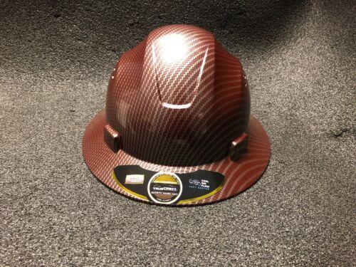 Red Carbon Fiber Hydro Print Full Brim Hard Hat Added Air Vents ANSI/ISEA Z89.1