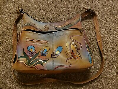 Anuschka hand painted leather handbag preowned