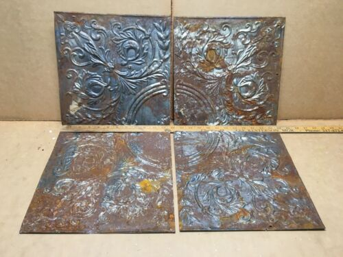 """4pc Lot 11.5"""" by 11.5"""" Antique Ceiling Tin Vintage Reclaimed Salvage Art Craft"""