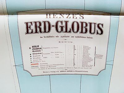 """Globus:""""HENZE`S"""" Riesenglobus 1885/ komplette Segmente;Fotos u.Beschreibung"""