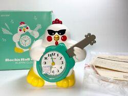 VINTAGE RHYTHM ROCK'N ROLL CHICKEN QUARTZ ALARM CLOCK JAPAN NEW OLD STOCK W/BOX