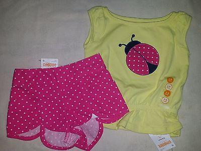 Gymboree CAPE COD CUTIE Yellow Pink Polka Dot Ladybug Tee & Shorts Set 2 pc NWT  Polka Dot Tee-set
