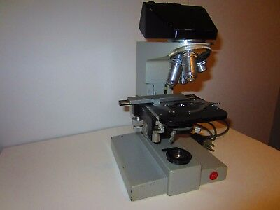 Leitz Sm-lux Binocular Microscope With 4 Lens - Germany
