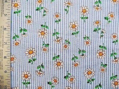 DAISY FLOWERS  ON BLUE WHITE  STRIPES 100% COTTON FABRIC BY THE 1/2 YARD