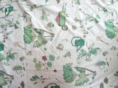 Vintage Fabric Curtains Cute Children Botanical Garden 1970