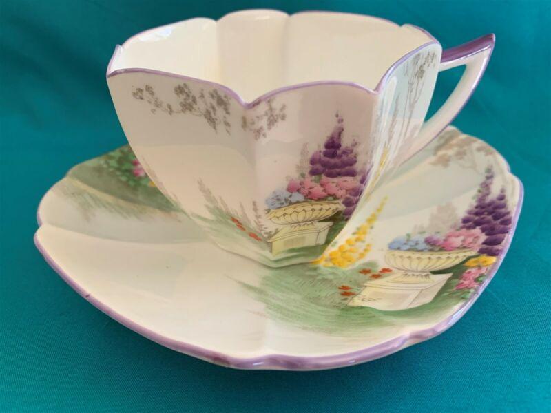 Shelley Art Deco Queen Anne Garden Urn Cup & Saucer #11617