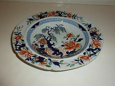 Antique Hicks And Meigh Staffordshire Stone China No  7 Soup Bowl  Japan Pattern