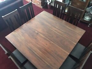 Solid dark hardwood eight seat square dining table/chairs