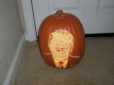 Donald Trump face carved glowing plastic Trumpkin light up pumpkin for Halloween