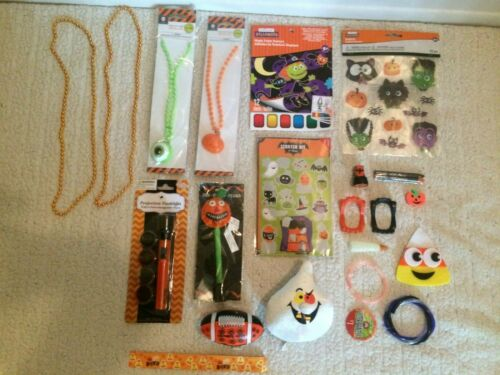 Lot of 20 Halloween Toys, Jewelry, Flashlight, Stickers, Paints, Eraser, & More