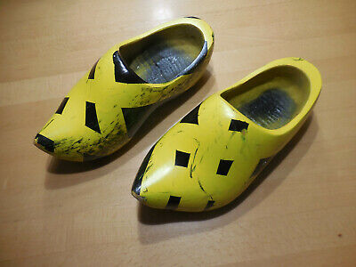 Kinder Holzschuhe gelb schwarz Gr. 33-35 Fasching Fasnacht Guggemusik Waggis (Kinder Schwarz Kostüm Schuhe)