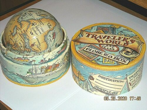 Vintage Traveler`s World Old World Style Globe in a Box