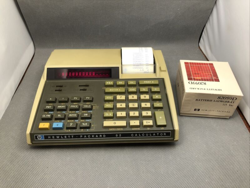 HP-92 Financial Printing Calculator with New Battery and Charger, 100% Working!