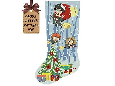 Cross stitch pattern Christmas Stocking PDF, modern counted easy Harry Potter