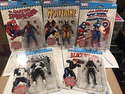 "5 Marvel Legends Retro Hasbro 6"" Figure Black Widow Wolverine Spiderman Punisher"