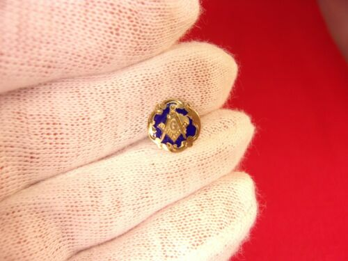 VERY OLD VTG ANTIQUE 10K ROSE GOLD & BLUE ENAMEL MASONIC COMPASS LAPEL PIN TACK
