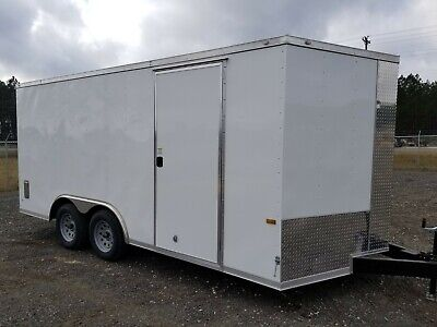 Enclosed Cargo Trailer 8.5x16 8.5 X 16 Ta In Stock Ramp V-nose Car Hauler 18 20
