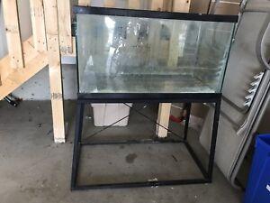Large aquarium with custom stand