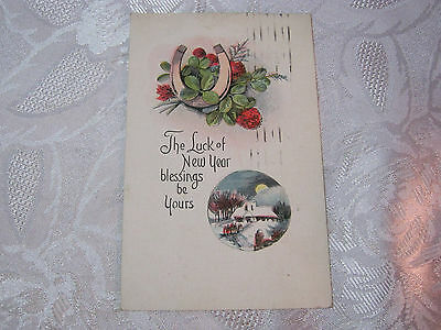 THE LUCK OF NEW YEAR BLESSINGS 1920'S VINTAGE POSTCARD     T*