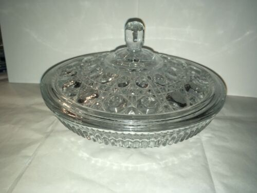 Vintage Clear Glass Buttons Bowl and Lid - Excellent Condition