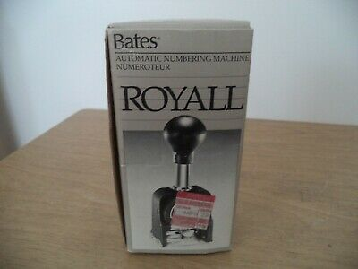 Bates Royall Automatic Numbering Machine Rnm6-7ioriginal Boxinstructio