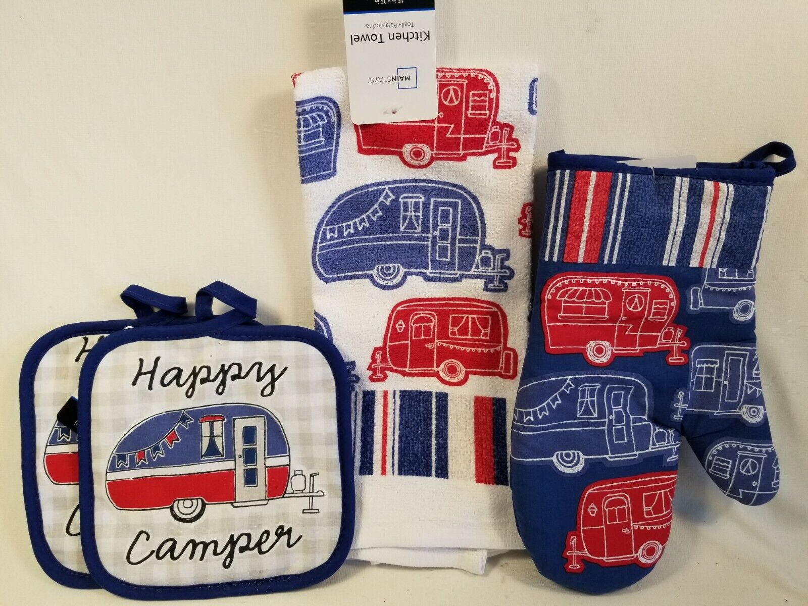 Mainstays Happy Camper 4pc Kitchen Set 1 Towel 2 Pot Holders And One Oven Mitt