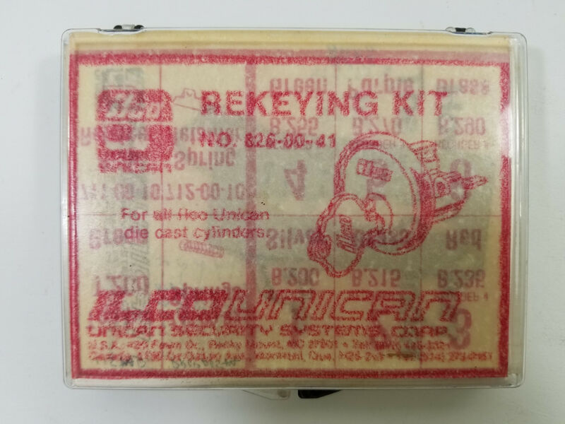 Ilco Unican Rekey Kit 826-00-41 Color Coded Pin Kit+Gauge+Instr #600 Cylinder