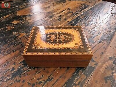 SMALL EARLY 20th CENTURY HAND INLAID BOX. Cards, Jewellery, Trinkets.