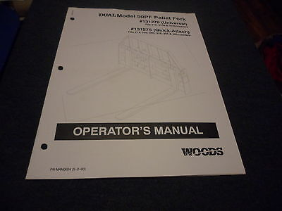 Drawer 5 Woods Operators Manual Pallet Fork 50pf 215 3100 3150 131276 131275