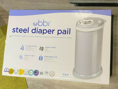 Ubbi Modern Diaper Pail Steel Odor Locking Gray No Special Bags Required