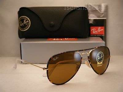 Ray Ban Aviator Full Color Tortoise/Gold w B-15 Lens (RB3025JM 001 (Ray Ban Aviator Full Color)