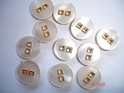 10 Knöpfe goldfarbig Metall mit perlmuttigem Einleger 13mm, 2-Loch W42.10
