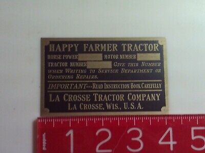 Happy Farmer Tractor Reproduction Nameplate