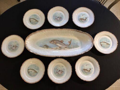 "Victoria Carlsbad Austria Lg 25"" Fish Platter & Cabinet Plates (8) c.1891-1918"
