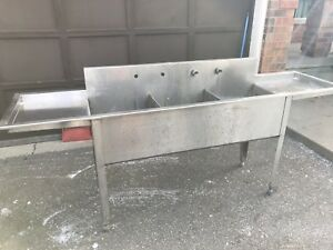 Mint Restaurant Stainless Steel 3 Section Sink