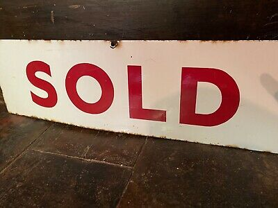 Large Vintage Metal Enamel White Red SOLD Sign - Display or Shop