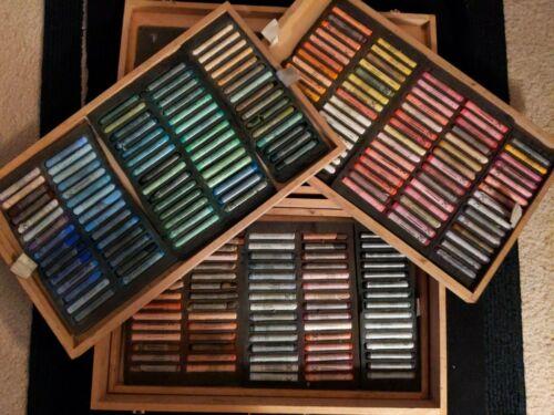 REMBRANDT SOFT PASTELS - 225 Pastels - Wood Box Used