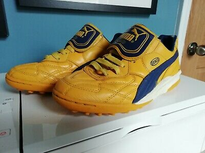 Puma King size 5 astro turf trainers yellow blue football retro style 5-a-side