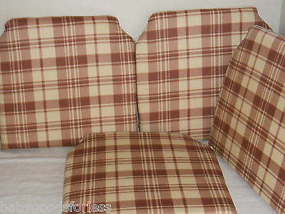 SEAT PADS DINING ROOM KITCHEN GARDEN CHAIR SET OF 4 CUSHIONS SALMONPINK CHECKED