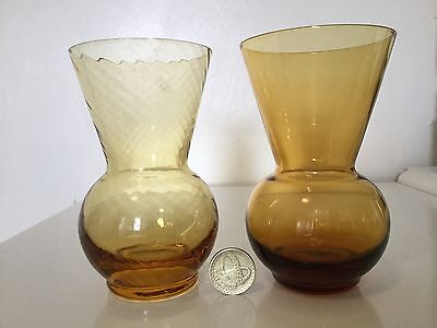 Caithness - Amber Thistle Vase x 2 - 1 Smooth 1 Swirly - Mint