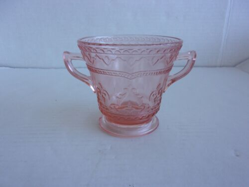 Depression Federal Glass Pink Footed Patrician Spoke Open Sugar Bowl