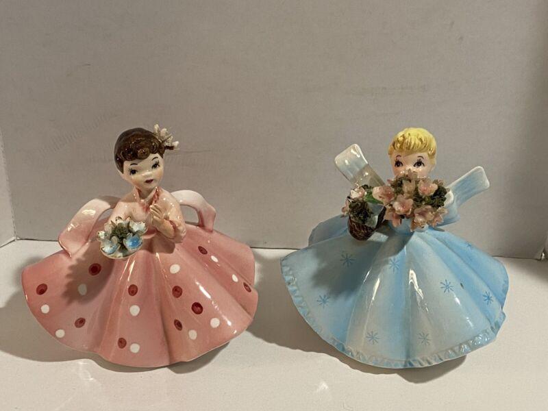 Vintage~Lefton~Girl Figurines~Pink & Blue~#1450C & #1450 B~Lot Of Two~