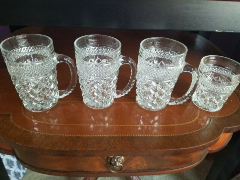 4 Anchor Hocking Wexford Vintage Pattern Beer Mugs 12 Oz. Fancy Drinking EUC
