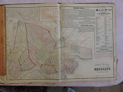 1874 original Beers Map BROOKLYN CITY Rare index map; linen backed !