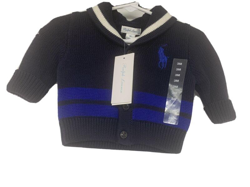 Ralph Lauren Infant 3M Big Pony Logo Blue Cardigan Sweater NWT