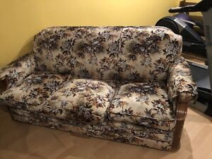Retro vintage antique floral pattern couch, solid wood frame