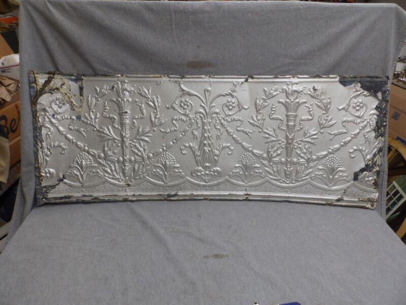 1 Salvaged Antique Tin Ceiling Ornate Pattern Old Vtg Torch Trim Edge 627-18E