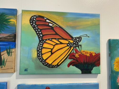 Monarch Butterfly, Canvas Hand Painted Signed. - $25.00