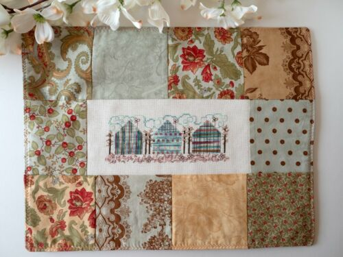 Finished Cross Stitch Autumn Cottage Houses Patchwork Needlework Table Mat